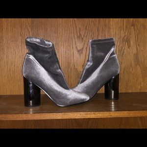 Gray Suede Booties Heels